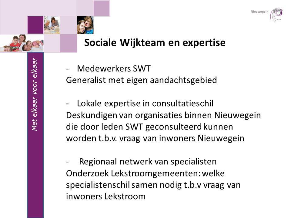 Sociale Wijkteam en expertise Met elkaar voor elkaar -Medewerkers SWT Generalist met eigen aandachtsgebied -Lokale expertise in consultatieschil Desku