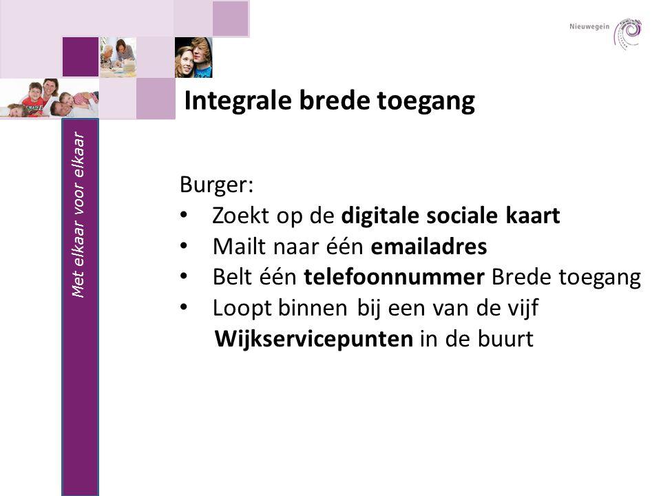 Met elkaar voor elkaar Integrale brede toegang Burger: Zoekt op de digitale sociale kaart Mailt naar één emailadres Belt één telefoonnummer Brede toeg