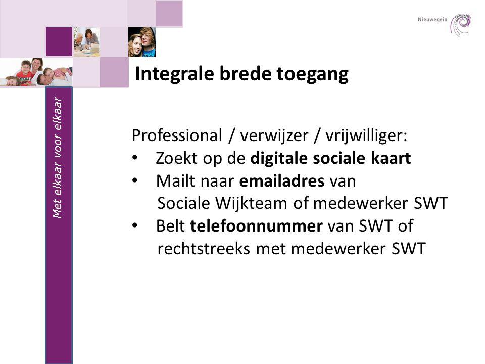 Met elkaar voor elkaar Integrale brede toegang Professional / verwijzer / vrijwilliger: Zoekt op de digitale sociale kaart Mailt naar emailadres van S