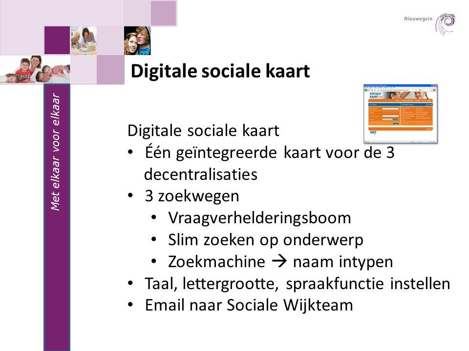 Met elkaar voor elkaar Digitale sociale kaart Één geïntegreerde kaart voor de 3 decentralisaties 3 zoekwegen Vraagverhelderingsboom Slim zoeken op ond
