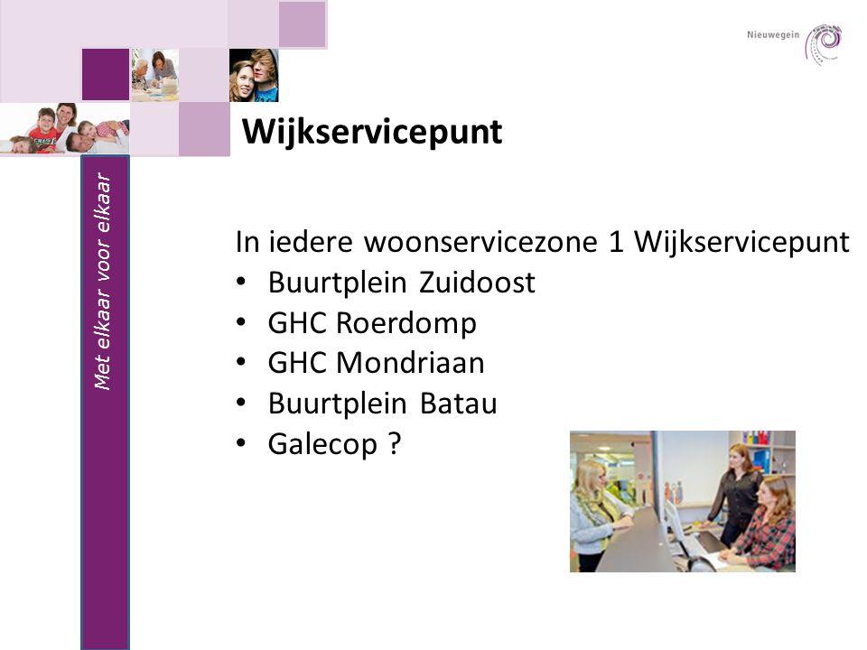 Met elkaar voor elkaar Wijkservicepunt In iedere woonservicezone 1 Wijkservicepunt Buurtplein Zuidoost GHC Roerdomp GHC Mondriaan Buurtplein Batau Gal