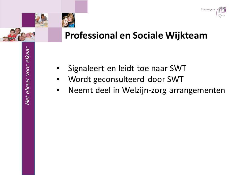 Met elkaar voor elkaar Professional en Sociale Wijkteam Signaleert en leidt toe naar SWT Wordt geconsulteerd door SWT Neemt deel in Welzijn-zorg arran