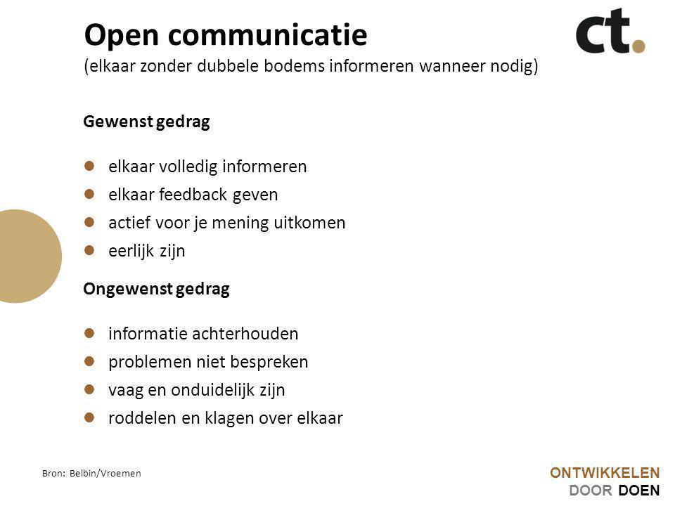 ONTWIKKELEN DOOR DOEN Open communicatie (elkaar zonder dubbele bodems informeren wanneer nodig) Gewenst gedrag elkaar volledig informeren elkaar feedb