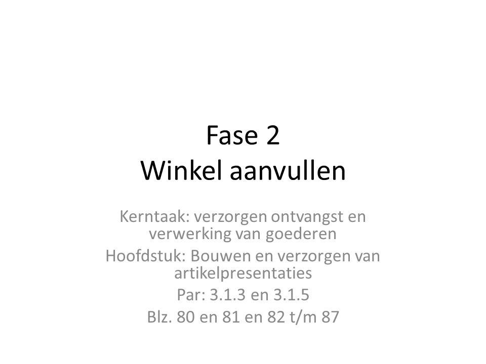 Fase 2 Winkel aanvullen Kerntaak: verzorgen ontvangst en verwerking van goederen Hoofdstuk: Bouwen en verzorgen van artikelpresentaties Par: 3.1.3 en
