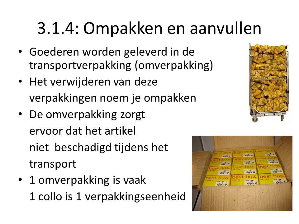 3.1.4: Ompakken en aanvullen Goederen worden geleverd in de transportverpakking (omverpakking) Het verwijderen van deze verpakkingen noem je ompakken