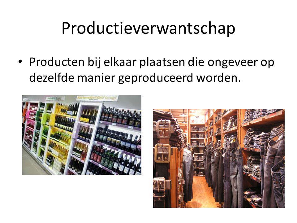 Productieverwantschap Producten bij elkaar plaatsen die ongeveer op dezelfde manier geproduceerd worden.