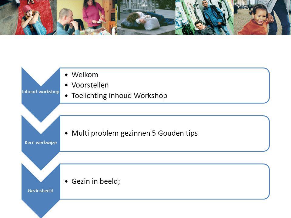 Inhoud workshop Welkom Voorstellen Toelichting inhoud Workshop Kern werkwijze Multi problem gezinnen 5 Gouden tips Gezinsbeeld Gezin in beeld; William