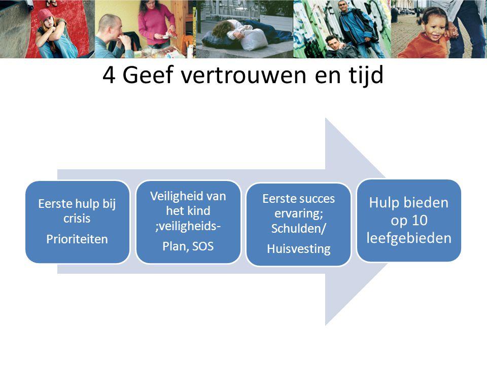 4 Geef vertrouwen en tijd Eerste hulp bij crisis Prioriteiten Veiligheid van het kind ;veiligheids- Plan, SOS Eerste succes ervaring; Schulden/ Huisve