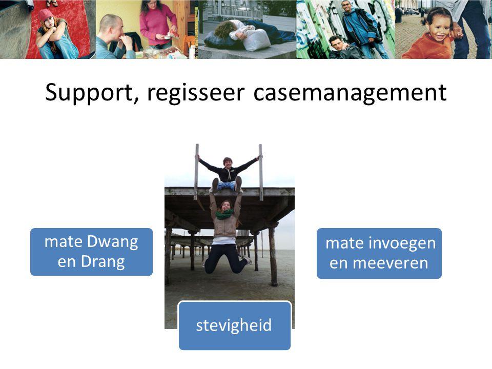 Support, regisseer casemanagement stevigheid mate Dwang en Drang mate invoegen en meeveren