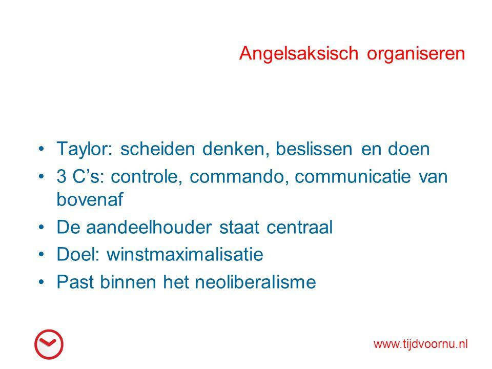 Angelsaksisch organiseren Taylor: scheiden denken, beslissen en doen 3 C's: controle, commando, communicatie van bovenaf De aandeelhouder staat centra
