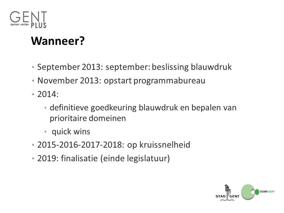 Wanneer? September 2013: september: beslissing blauwdruk November 2013: opstart programmabureau 2014: definitieve goedkeuring blauwdruk en bepalen van