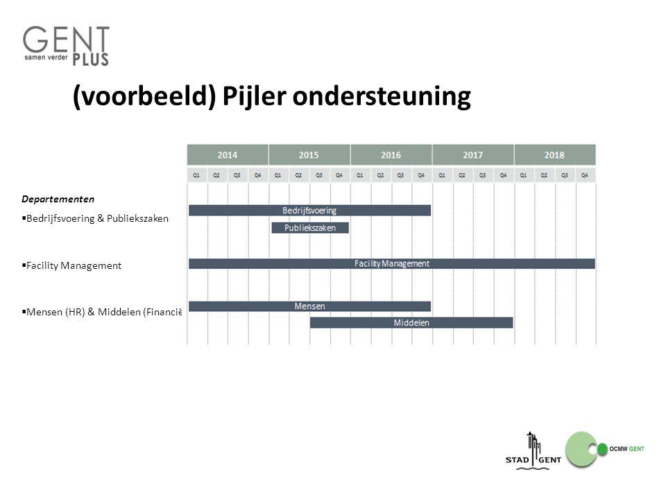 (voorbeeld) Pijler ondersteuning Departementen  Bedrijfsvoering & Publiekszaken  Facility Management  Mensen (HR) & Middelen (Financiën)