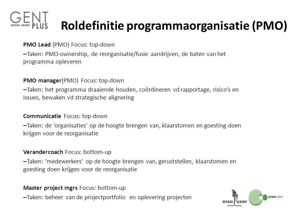 Roldefinitie programmaorganisatie (PMO) PMO Lead (PMO) Focus: top-down – Taken: PMO-ownership, de reorganisatie/fusie aandrijven, de baten van het pro