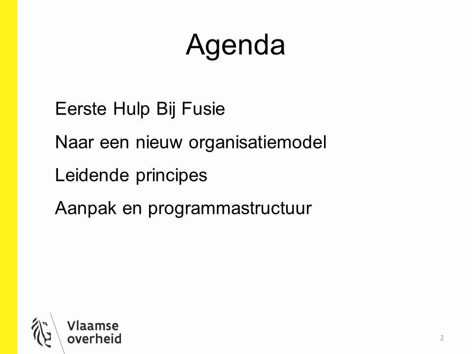 Agenda 2 Eerste Hulp Bij Fusie Naar een nieuw organisatiemodel Leidende principes Aanpak en programmastructuur