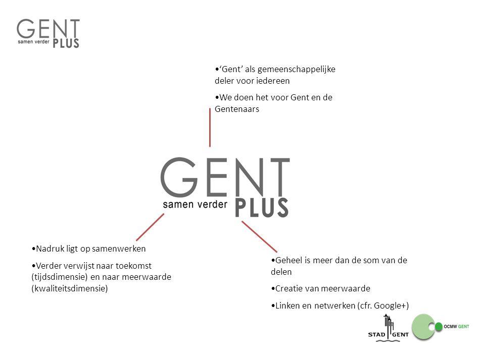 'Gent' als gemeenschappelijke deler voor iedereen We doen het voor Gent en de Gentenaars Nadruk ligt op samenwerken Verder verwijst naar toekomst (tij
