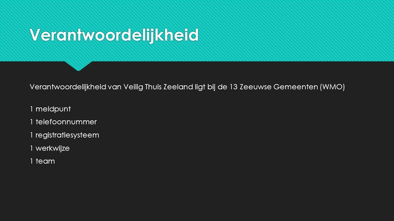 Verantwoordelijkheid Verantwoordelijkheid van Veilig Thuis Zeeland ligt bij de 13 Zeeuwse Gemeenten (WMO) 1 meldpunt 1 telefoonnummer 1 registratiesys