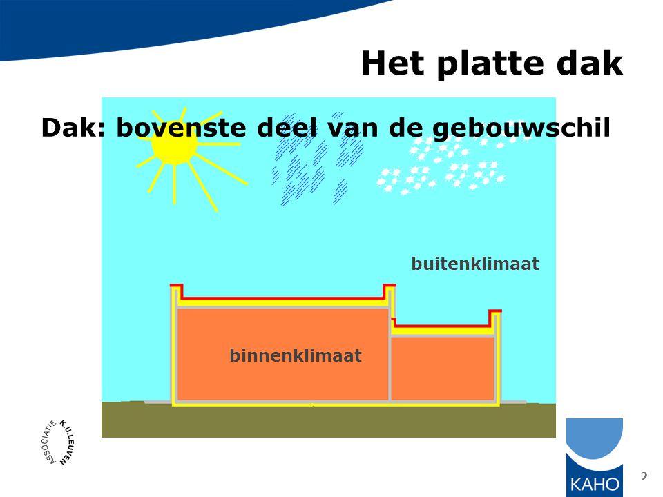3 Het platte dak Dak: bovenste deel van de gebouwschil waterdicht + winddicht = dakafdichting isolerend = dakisolatie luchtdicht, dampremmend = dampscherm bovenste begrenzing beschermd volume 5 de gevel (zie actieve daken)