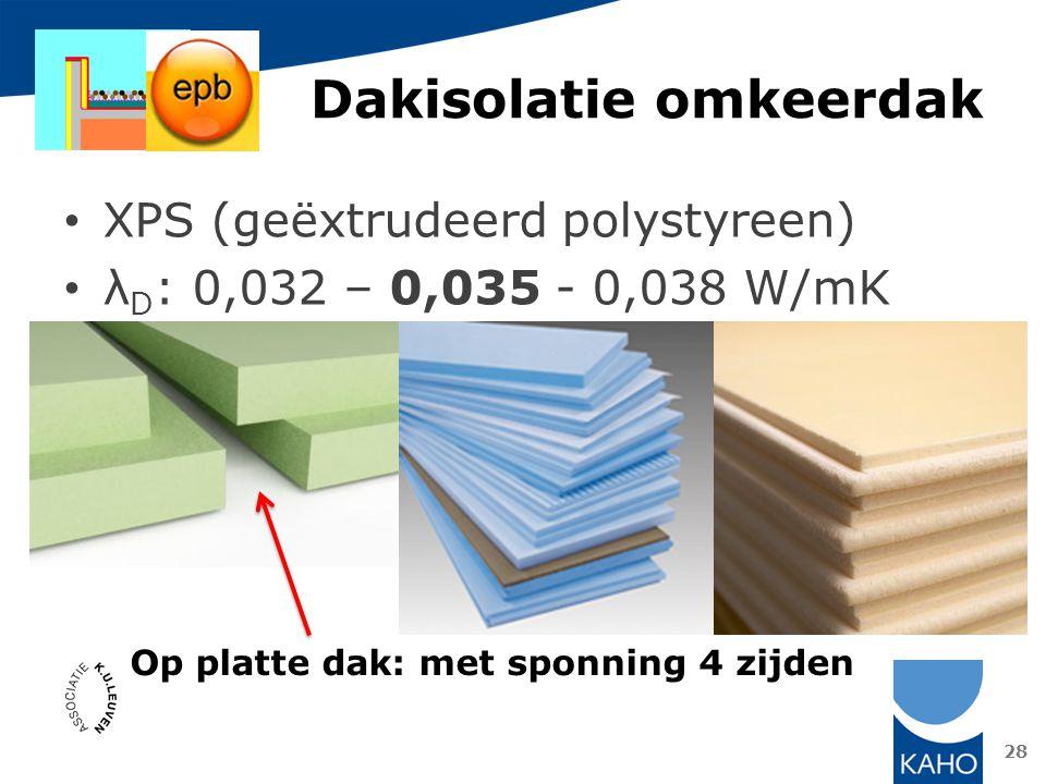 Dakisolatie omkeerdak 28 XPS (geëxtrudeerd polystyreen) λ D : 0,032 – 0,035 - 0,038 W/mK Op platte dak: met sponning 4 zijden