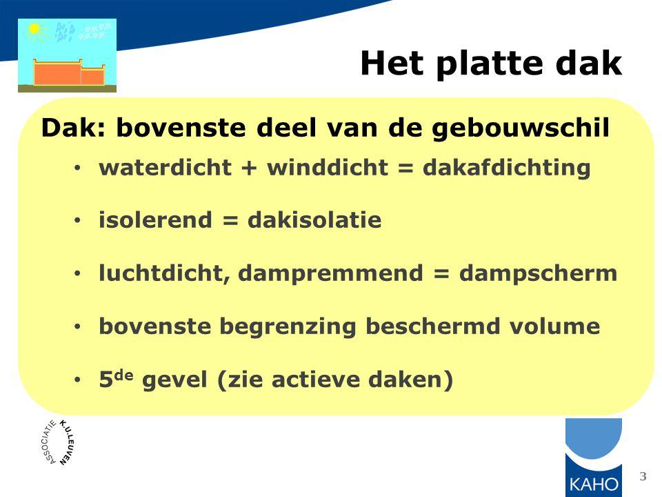 Opmerkingen: correctie U-waarde voor extra warmteverlies tijdens stookseizoen: hemelwater stroomt onder platen minimale helling 2%, maximale doorbuiging 1/240 ballast: – UV-bescherming – opdrijven platen – windbelasting dakvloer: – zwaar massief – licht: R dakvloer : minimaal 0,15 m²K/W – dus multiplex of OSB 18 mm voldoen niet 14 Omkeerdak