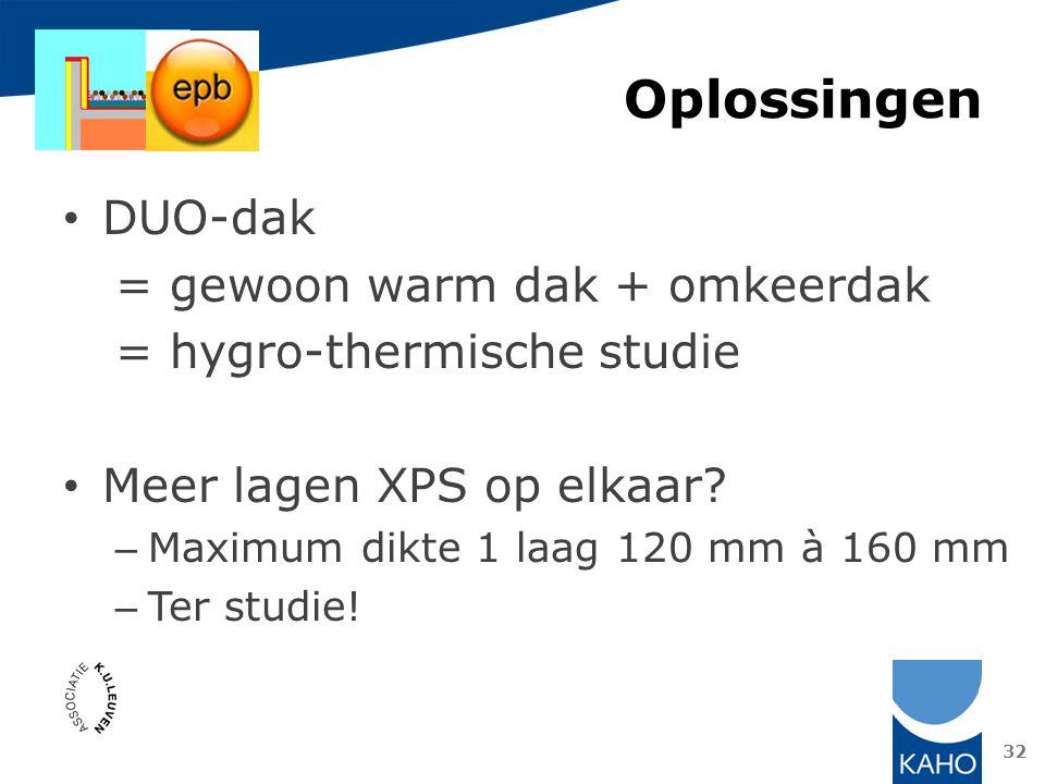 Oplossingen DUO-dak = gewoon warm dak + omkeerdak = hygro-thermische studie Meer lagen XPS op elkaar? – Maximum dikte 1 laag 120 mm à 160 mm – Ter stu