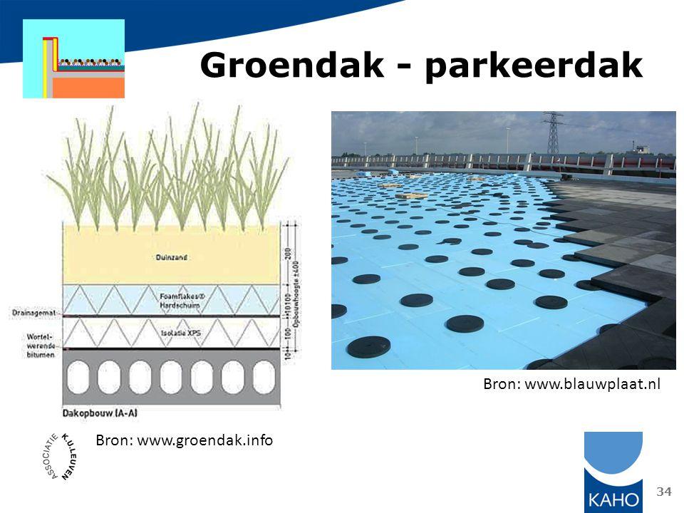 34 Bron: www.groendak.info Groendak - parkeerdak Bron: www.blauwplaat.nl
