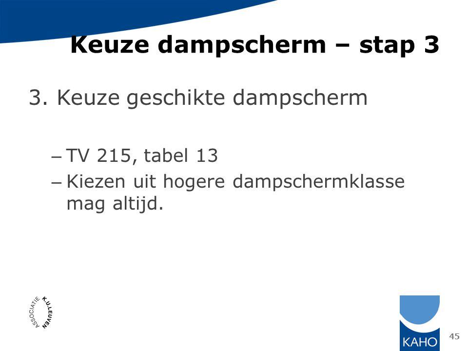 Keuze dampscherm – stap 3 3. Keuze geschikte dampscherm – TV 215, tabel 13 – Kiezen uit hogere dampschermklasse mag altijd. 45
