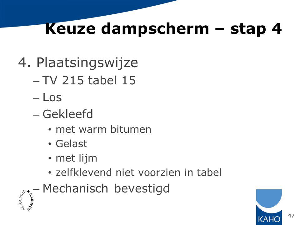 Keuze dampscherm – stap 4 4. Plaatsingswijze – TV 215 tabel 15 – Los – Gekleefd met warm bitumen Gelast met lijm zelfklevend niet voorzien in tabel –