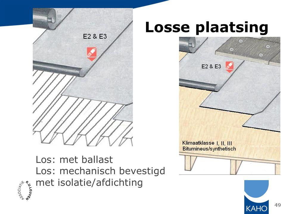 Losse plaatsing 49 Los: met ballast Los: mechanisch bevestigd met isolatie/afdichting