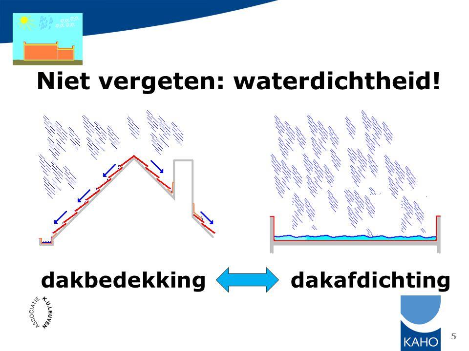 het platte dak is een dak waarbij de wind- en waterdichtheid gerealiseerd wordt door een continue waterdichte laag, de dakafdichting 99,99… % waterdicht = LEK 6 Dakafdichting