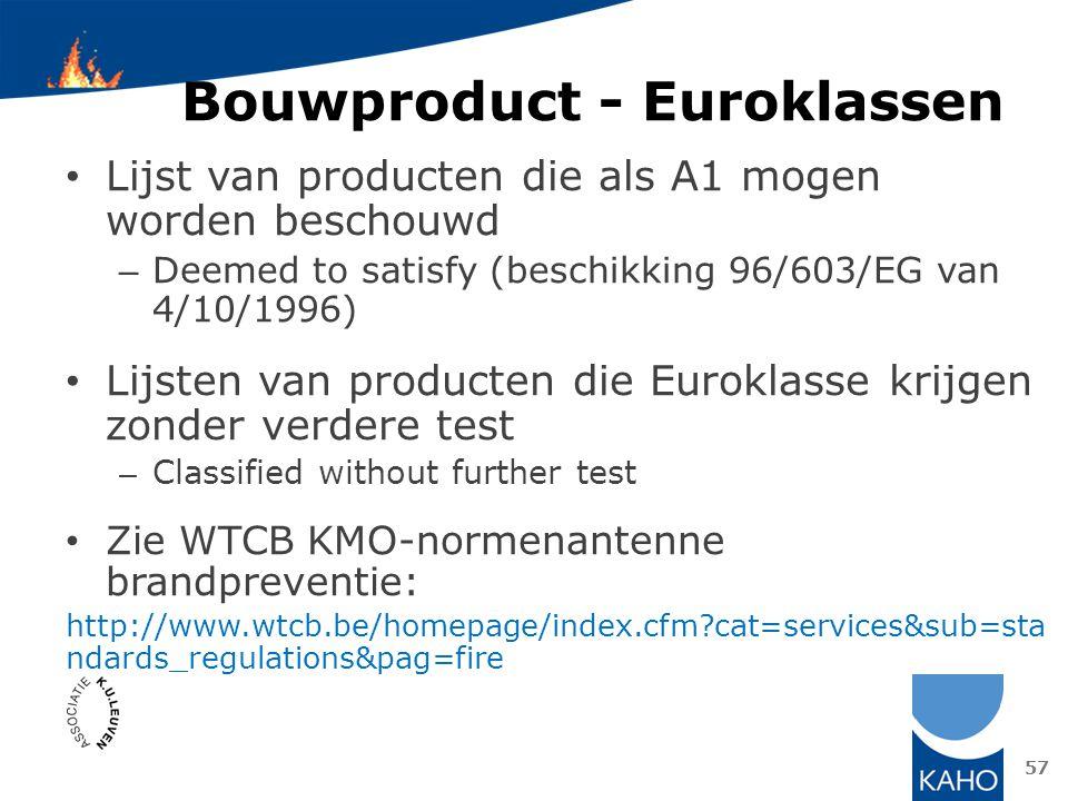 Bouwproduct - Euroklassen Lijst van producten die als A1 mogen worden beschouwd – Deemed to satisfy (beschikking 96/603/EG van 4/10/1996) Lijsten van
