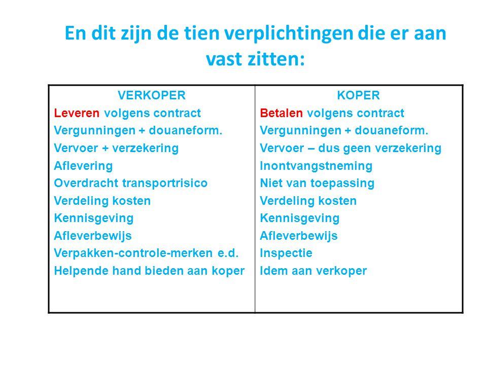 En dit zijn de tien verplichtingen die er aan vast zitten: VERKOPER Leveren volgens contract Vergunningen + douaneform. Vervoer + verzekering Afleveri