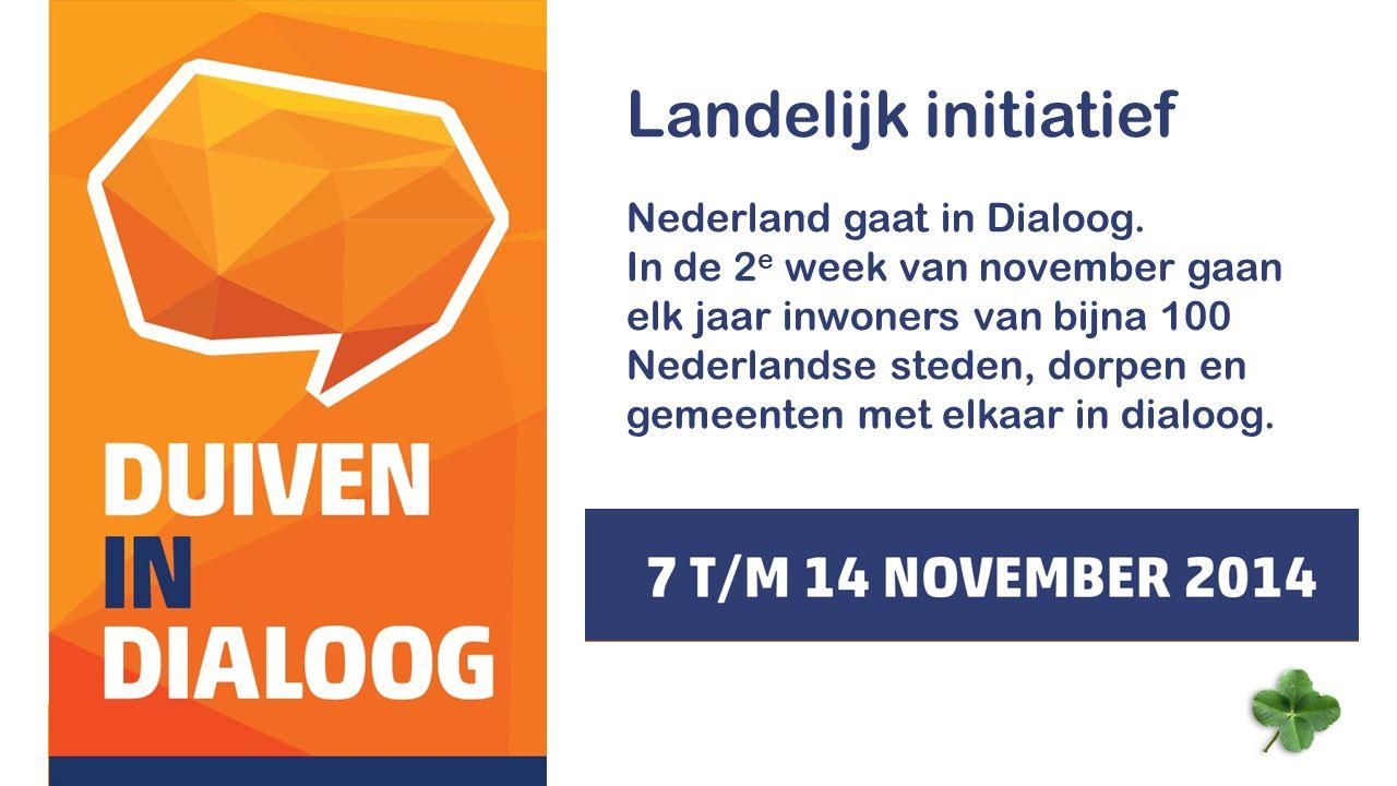 Landelijk initiatief Nederland gaat in Dialoog.