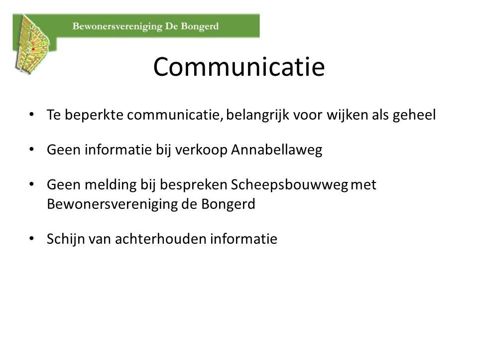 Communicatie Te beperkte communicatie, belangrijk voor wijken als geheel Geen informatie bij verkoop Annabellaweg Geen melding bij bespreken Scheepsbo