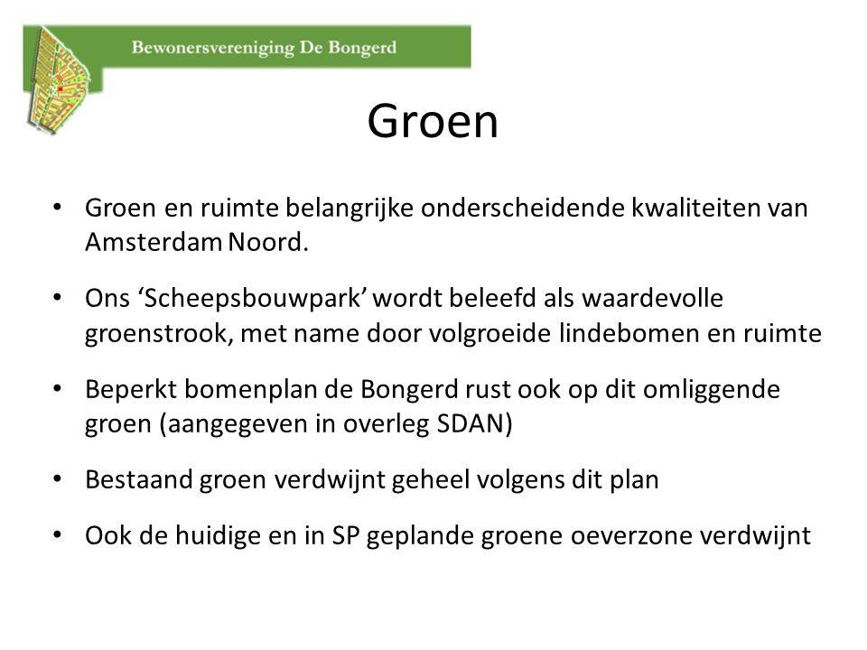 Groen en ruimte belangrijke onderscheidende kwaliteiten van Amsterdam Noord. Ons 'Scheepsbouwpark' wordt beleefd als waardevolle groenstrook, met name