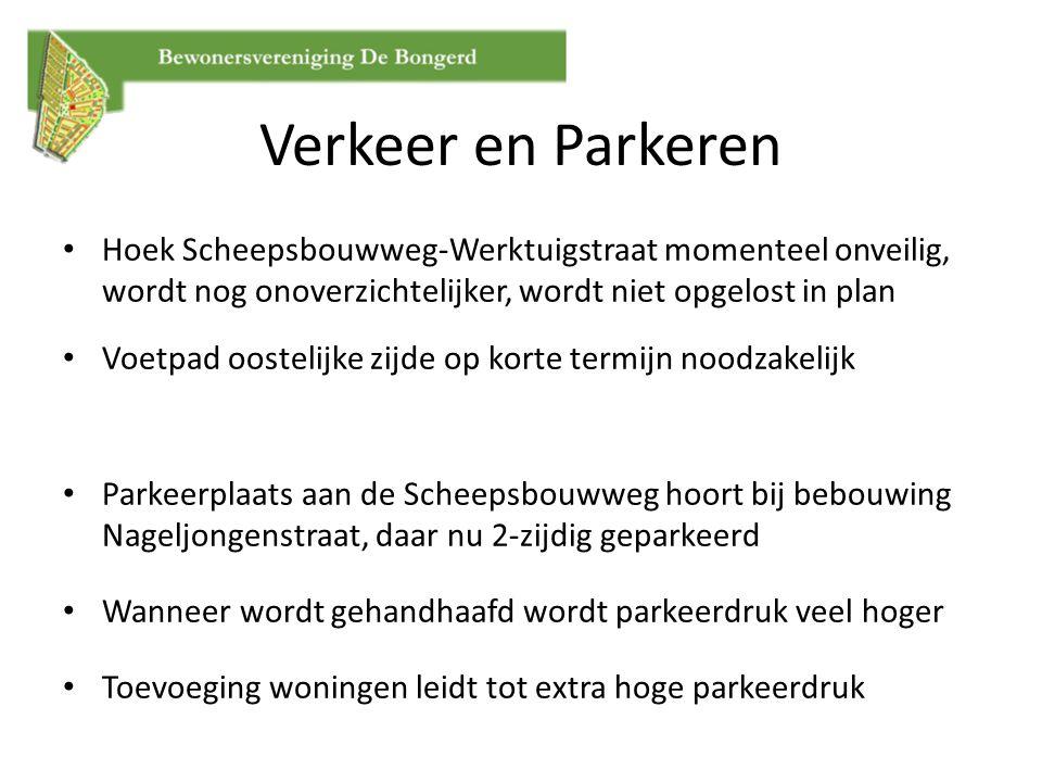 Hoek Scheepsbouwweg-Werktuigstraat momenteel onveilig, wordt nog onoverzichtelijker, wordt niet opgelost in plan Voetpad oostelijke zijde op korte ter
