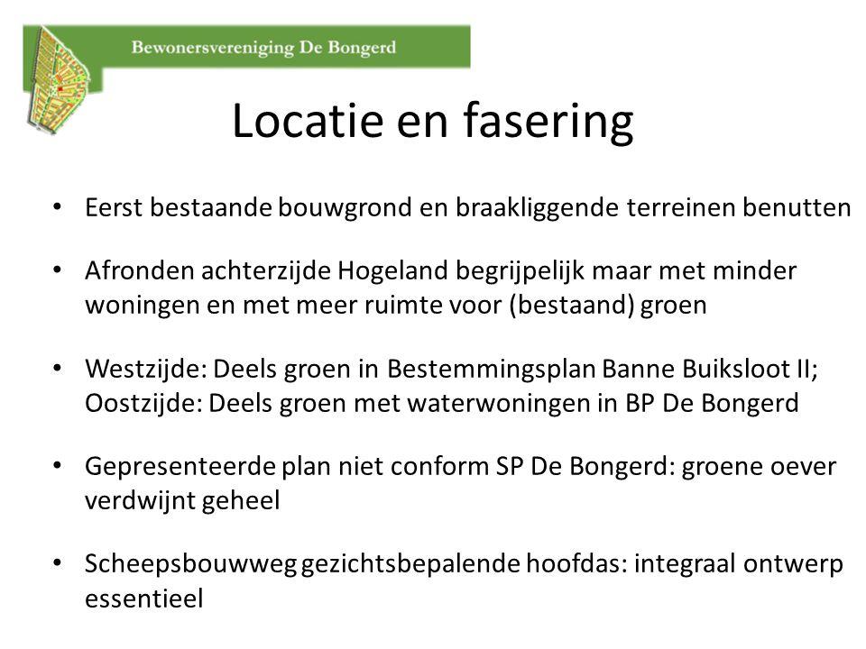 Locatie en fasering Eerst bestaande bouwgrond en braakliggende terreinen benutten Afronden achterzijde Hogeland begrijpelijk maar met minder woningen