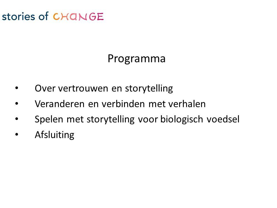 Over vertrouwen en storytelling Veranderen en verbinden met verhalen Spelen met storytelling voor biologisch voedsel Afsluiting Programma