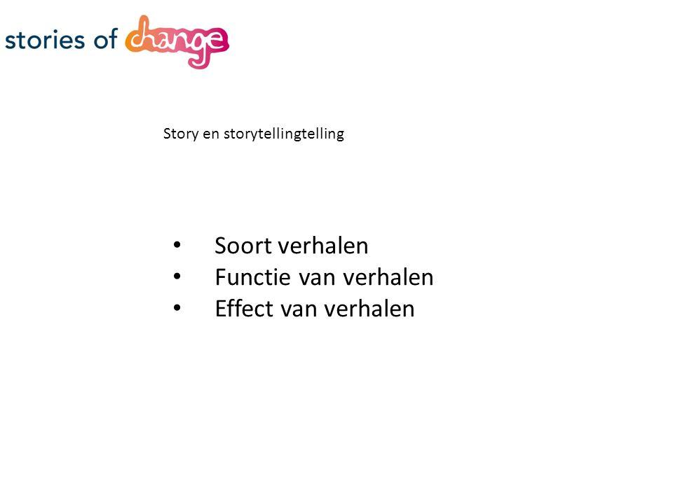 Story en storytellingtelling Soort verhalen Functie van verhalen Effect van verhalen