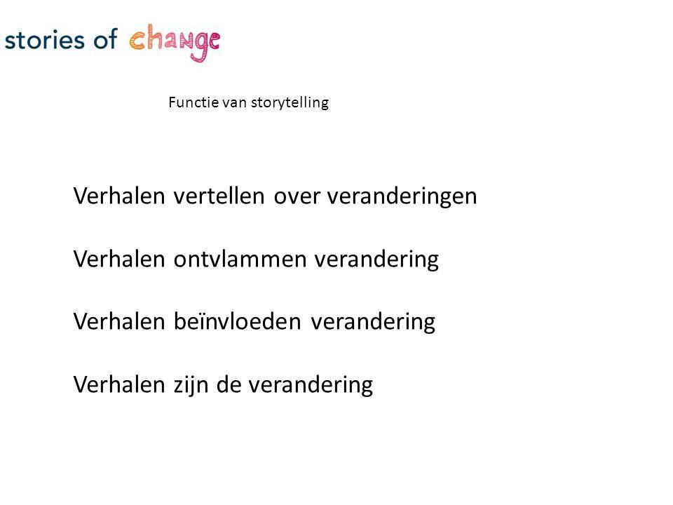 Functie van storytelling Verhalen vertellen over veranderingen Verhalen ontvlammen verandering Verhalen beïnvloeden verandering Verhalen zijn de verandering