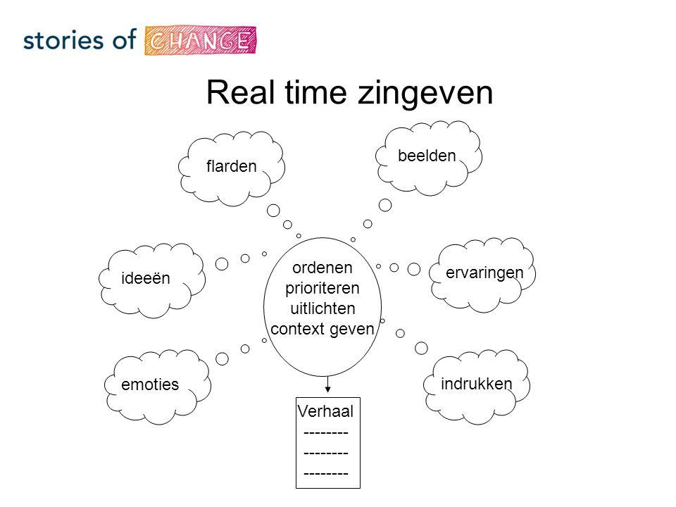 flarden ordenen prioriteren uitlichten context geven Verhaal -------- emoties ideeën ervaringen indrukken beelden Real time zingeven