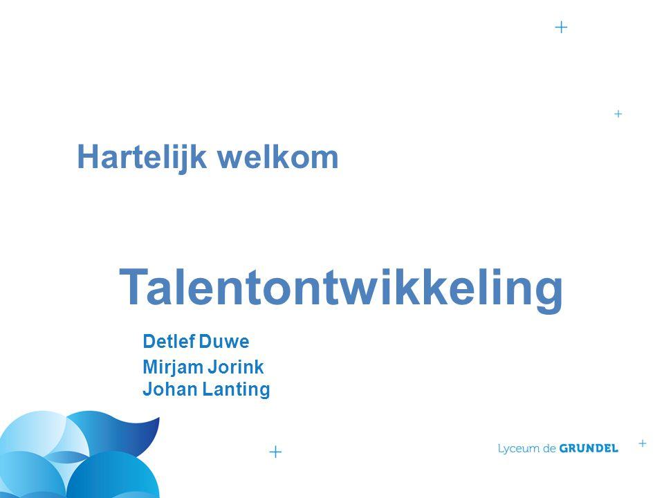 Hartelijk welkom Talentontwikkeling Detlef Duwe Mirjam Jorink Johan Lanting
