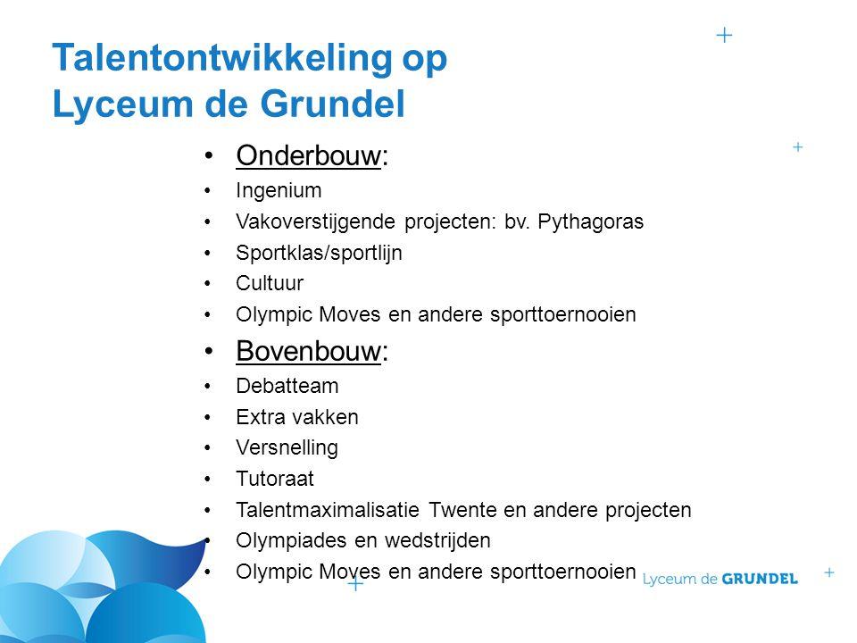 Talentontwikkeling op Lyceum de Grundel Onderbouw: Ingenium Vakoverstijgende projecten: bv. Pythagoras Sportklas/sportlijn Cultuur Olympic Moves en an