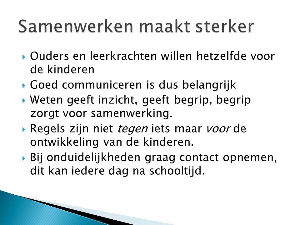  Ouders en leerkrachten willen hetzelfde voor de kinderen  Goed communiceren is dus belangrijk  Weten geeft inzicht, geeft begrip, begrip zorgt voo
