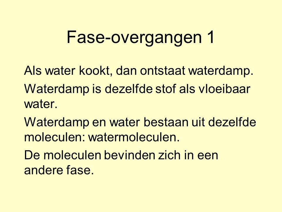 Fase-overgangen 1 Als water kookt, dan ontstaat waterdamp. Waterdamp is dezelfde stof als vloeibaar water. Waterdamp en water bestaan uit dezelfde mol