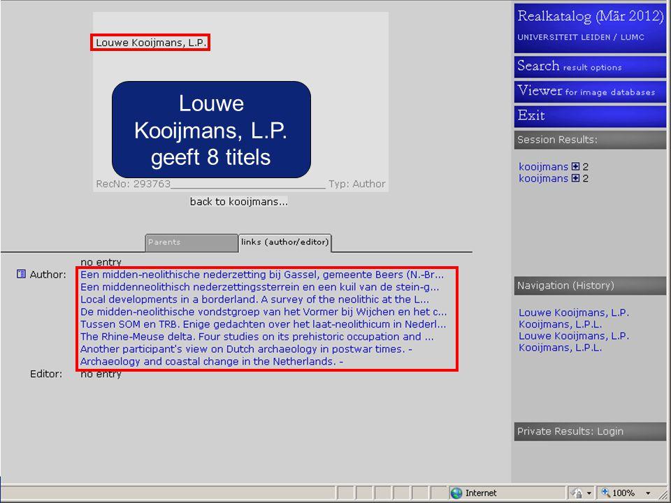 Louwe Kooijmans, L.P. geeft 8 titels