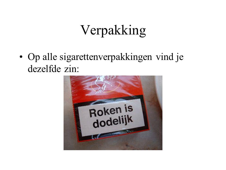 Verpakking Op alle sigarettenverpakkingen vind je dezelfde zin: