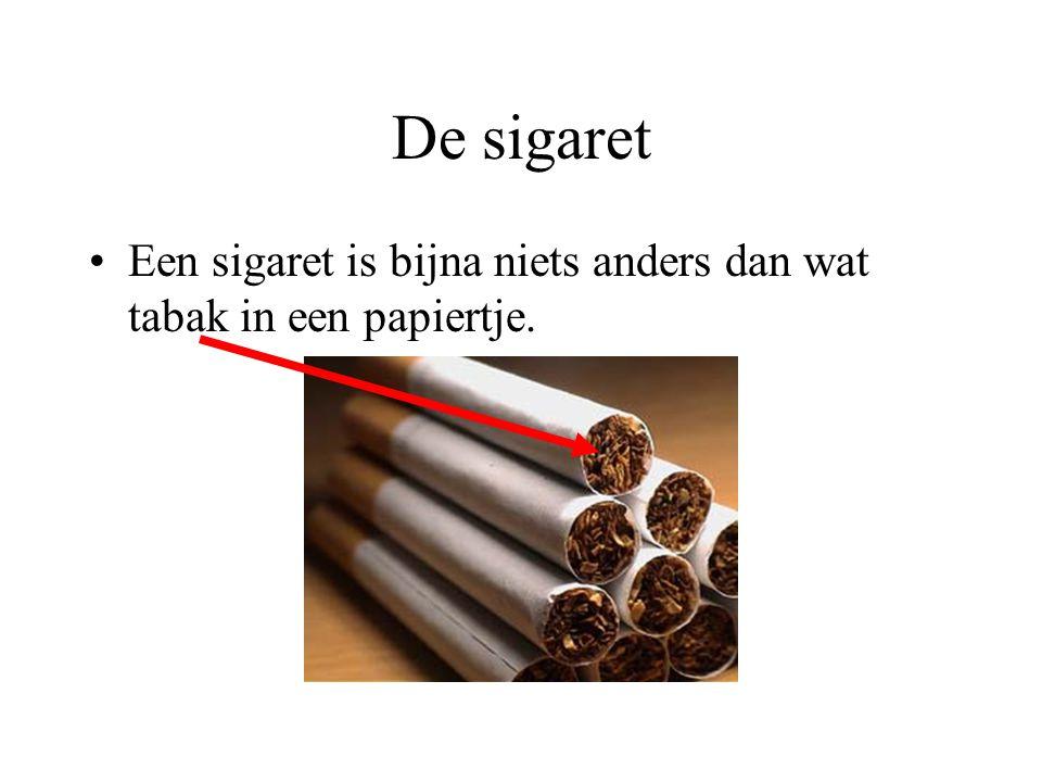 De sigaret Een sigaret is bijna niets anders dan wat tabak in een papiertje.