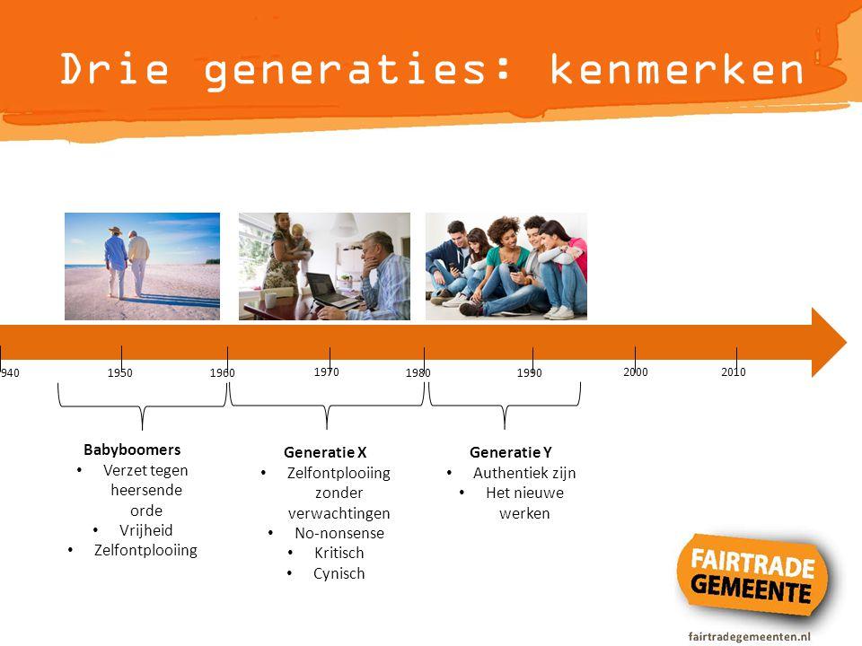 Drie generaties: kenmerken 1940 1950 1960 1970 1980 1990 2000 2010 Babyboomers Verzet tegen heersende orde Vrijheid Zelfontplooiing Generatie X Zelfon