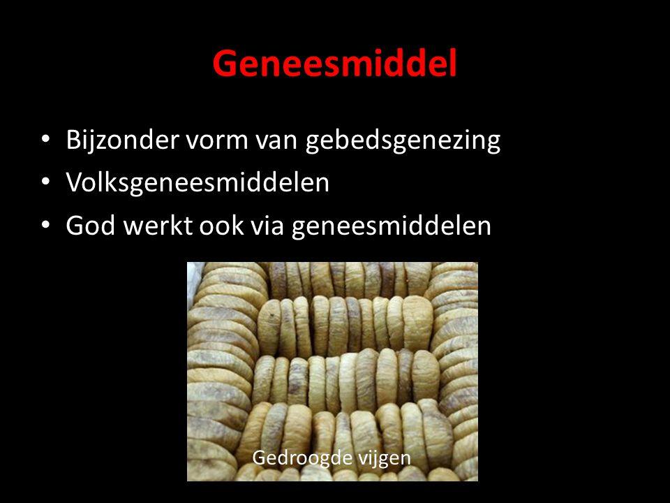 Geneesmiddel Bijzonder vorm van gebedsgenezing Volksgeneesmiddelen God werkt ook via geneesmiddelen Gedroogde vijgen