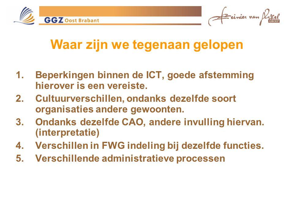 Waar zijn we tegenaan gelopen 1.Beperkingen binnen de ICT, goede afstemming hierover is een vereiste.